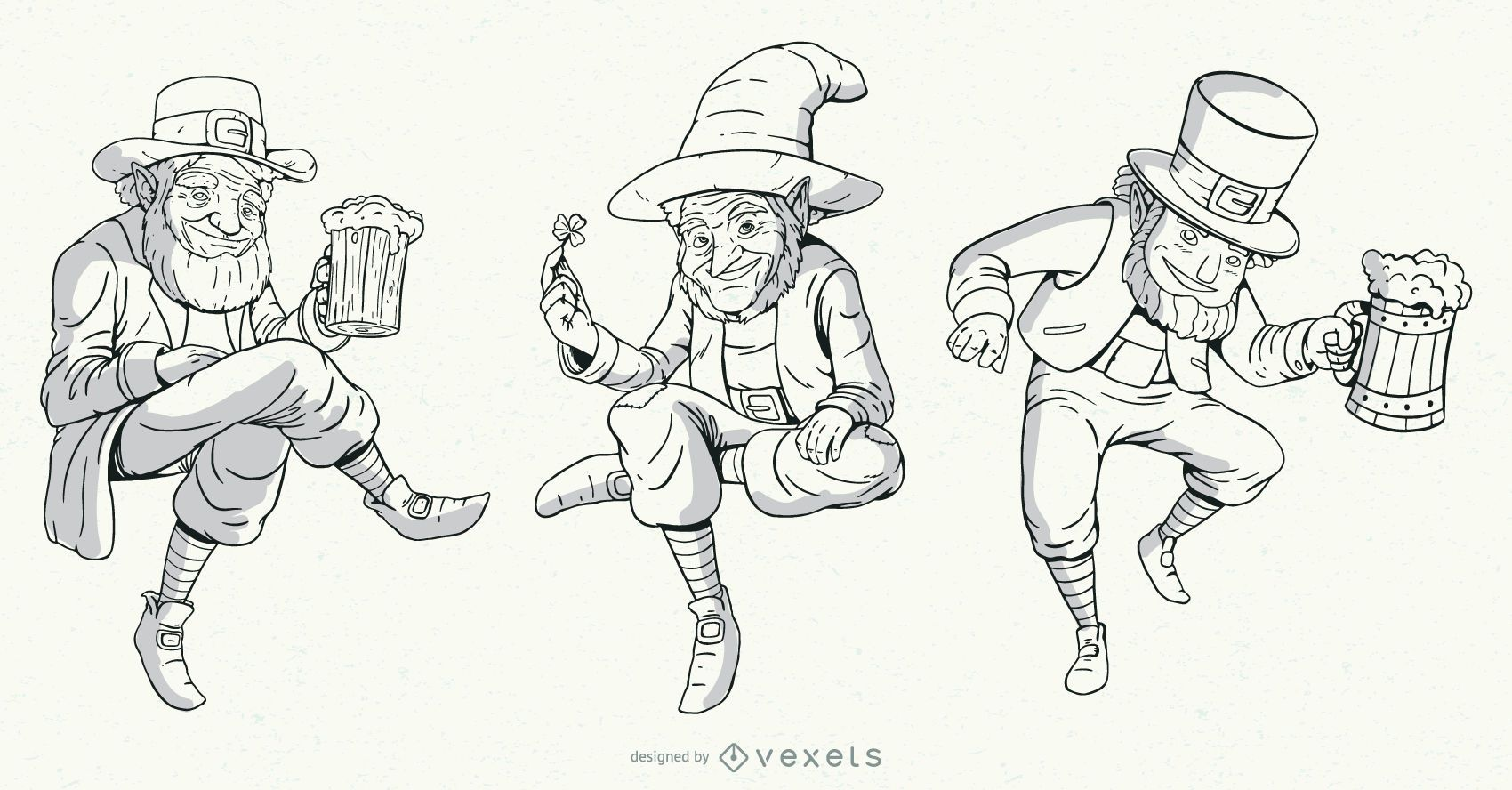 Hand drawn leprechaun characters set