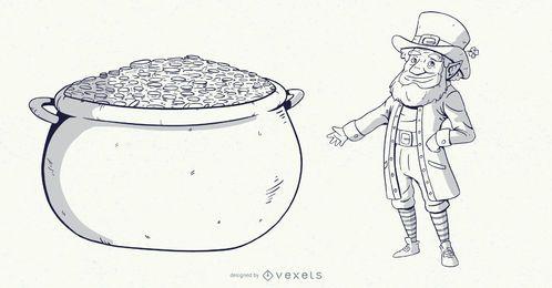 Ilustração de traço de pote de ouro de duende