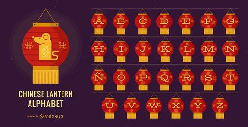 Conjunto de letras del alfabeto de linterna china