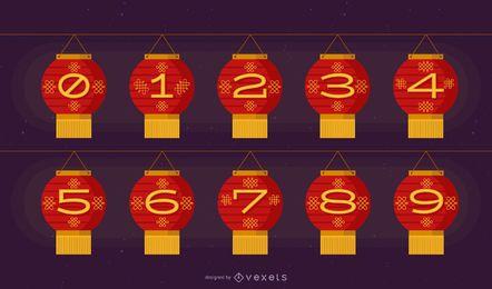 Conjunto de números de lanterna chinesa