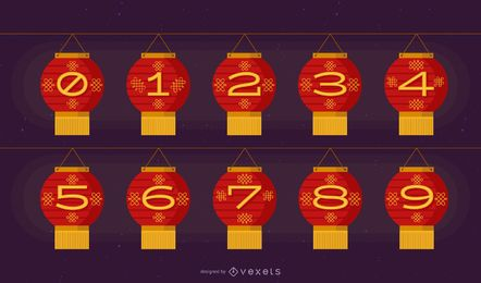 Conjunto de números de linterna china