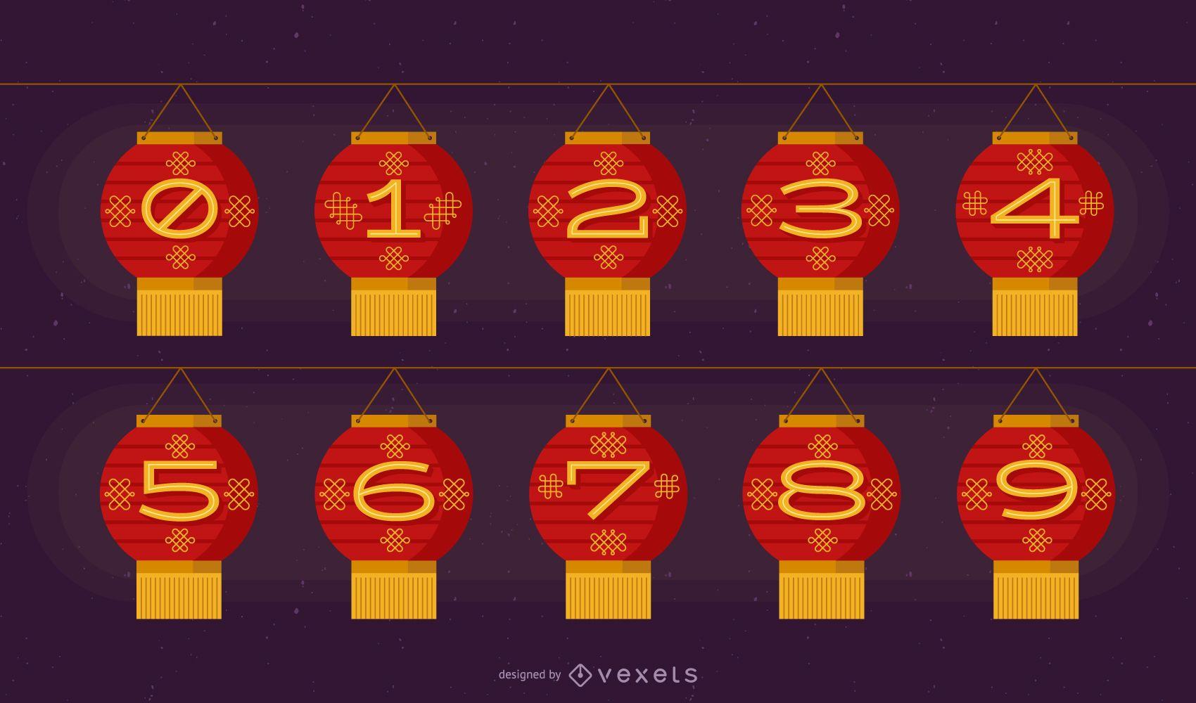 Chinese Lantern Number Set