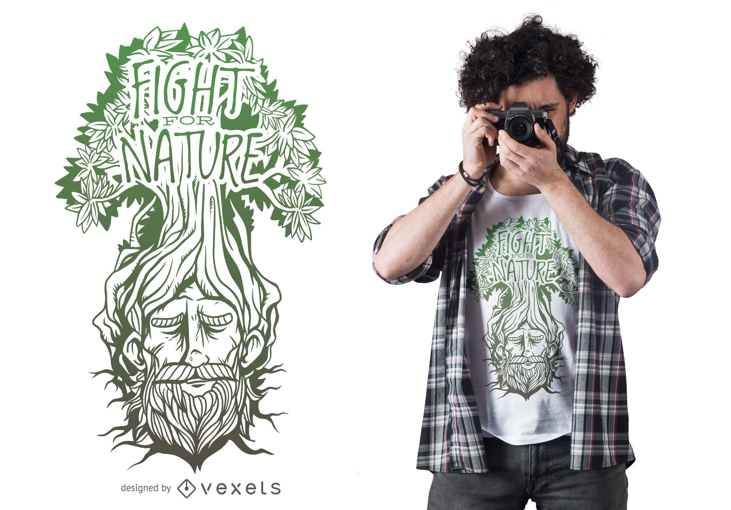 Diseño de camiseta de lucha contra la naturaleza.