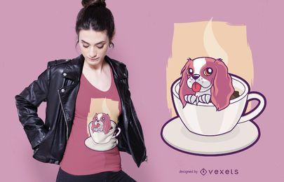 Diseño de camiseta de perro taza de café.