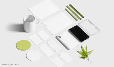 Composição de maquete de papelaria comercial