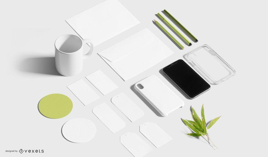 Composição de maquete de papelaria de negócios