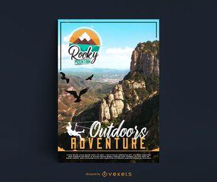 Design de cartaz de aventura de montanha