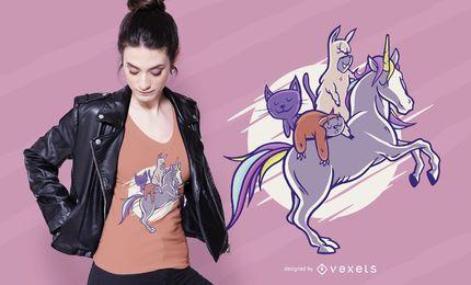 Diseño de camiseta de animales lindos