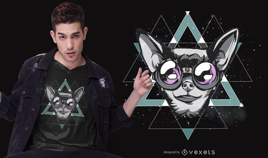 Design de camiseta chihuahua do espaço