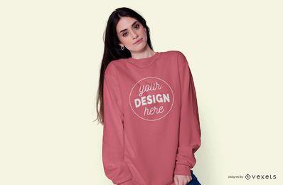 Girl wearing hoodie mockup