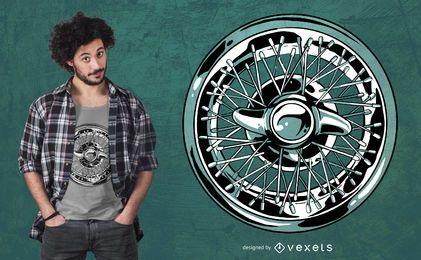 Design de camiseta de aro de roda de carro
