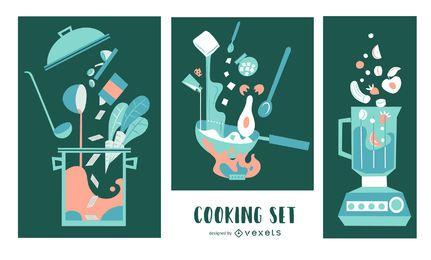 Conjunto de ilustración plana de elementos de cocina