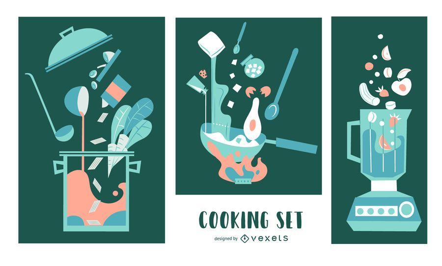Cooking Elements Flat Illustration Set