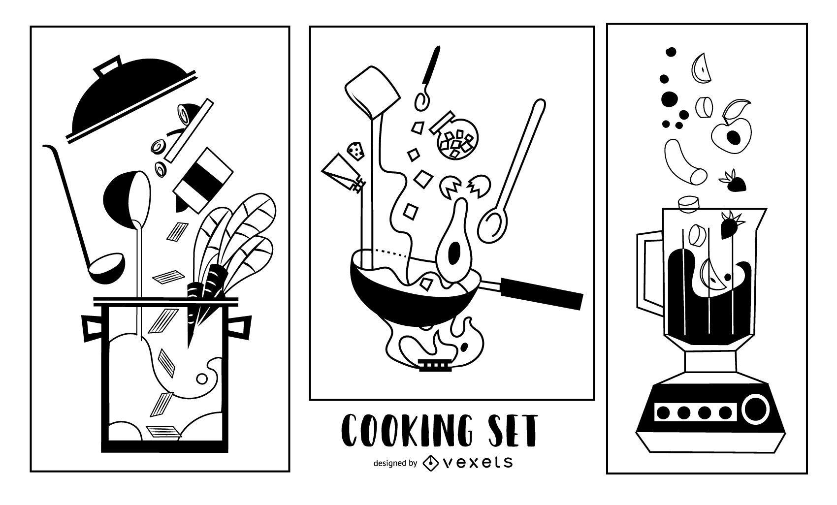 Kitchen Elements Stroke Designs