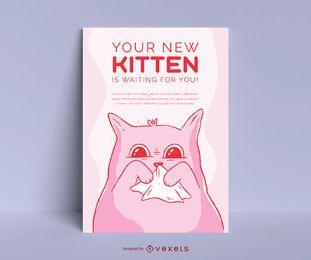 Cute Kitten Adoption Poster Design