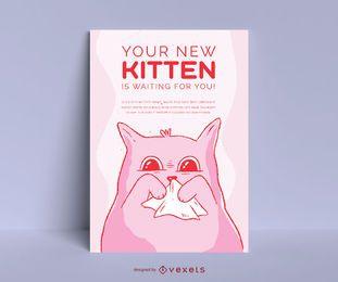 Diseño de cartel de adopción de lindo gatito