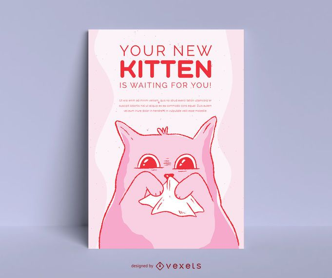 Cute Kitten Adoption Poster Design