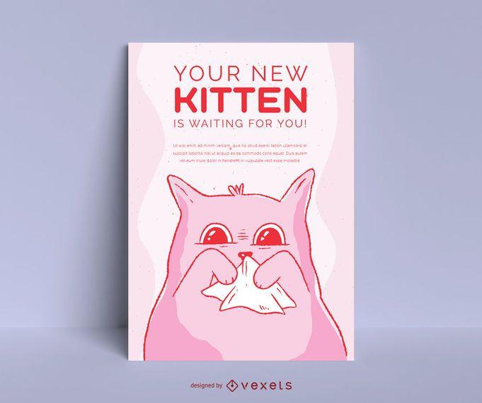 Diseño lindo del cartel de la adopción del gatito
