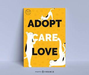 Diseño de póster de adopción de gato