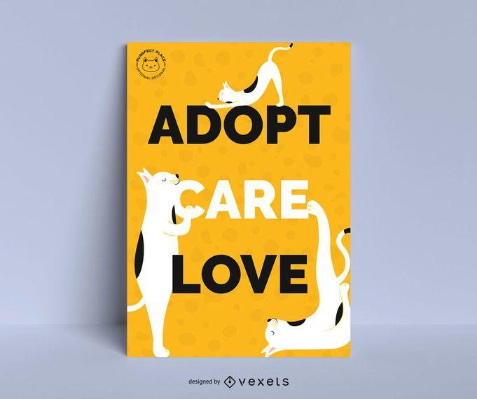 Design de cartaz de adoção de gato