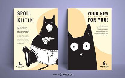 Conjunto de diseño de carteles de ilustración de gato