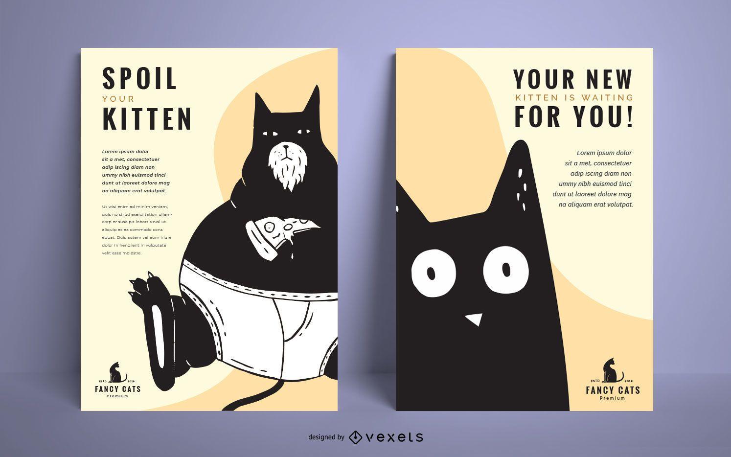 Conjunto de diseño de cartel de ilustración de gato