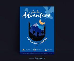 Design do cartaz do alojamento de montanha