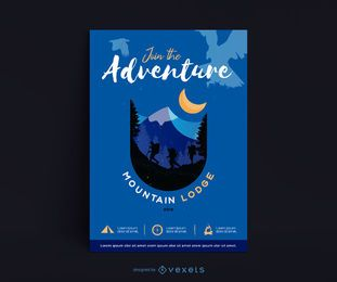 Diseño de póster de Mountain Lodge