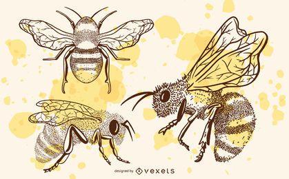 Conjunto de abejas dibujadas a mano