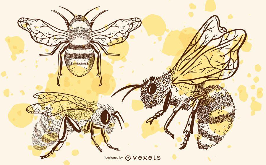 Conjunto de abelhas mão desenhada