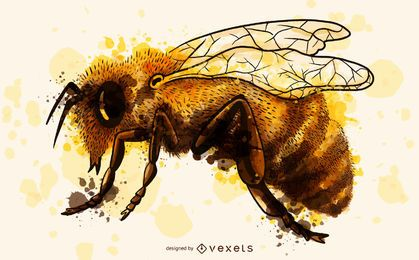 Bee watercolor illustration
