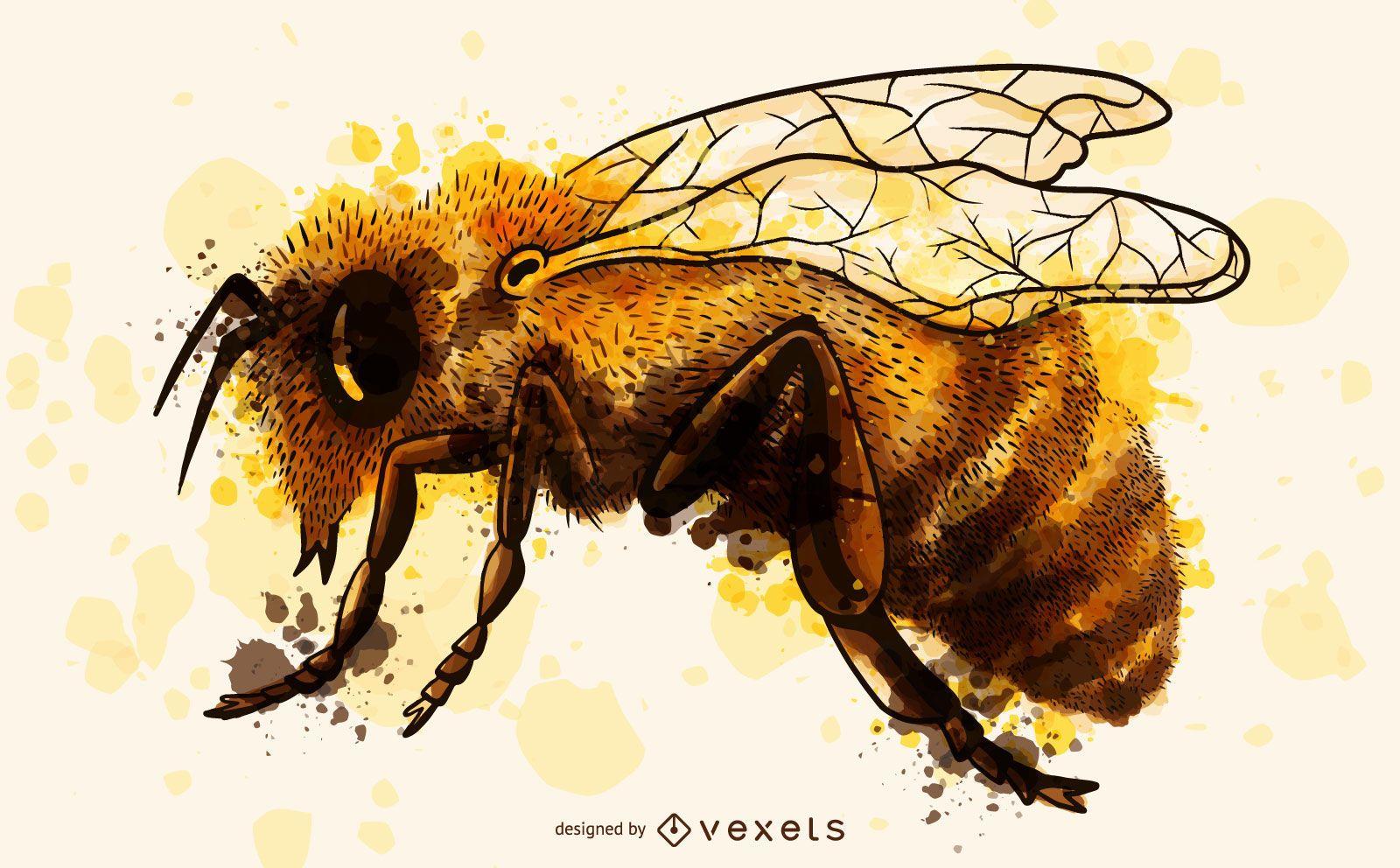 Ilustración acuarela de abeja