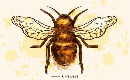 Ilustração em aquarela de inseto abelha