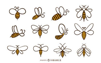 Coleção de ícones de abelha