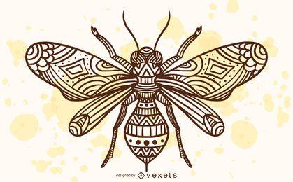 Ilustración de abeja mandala