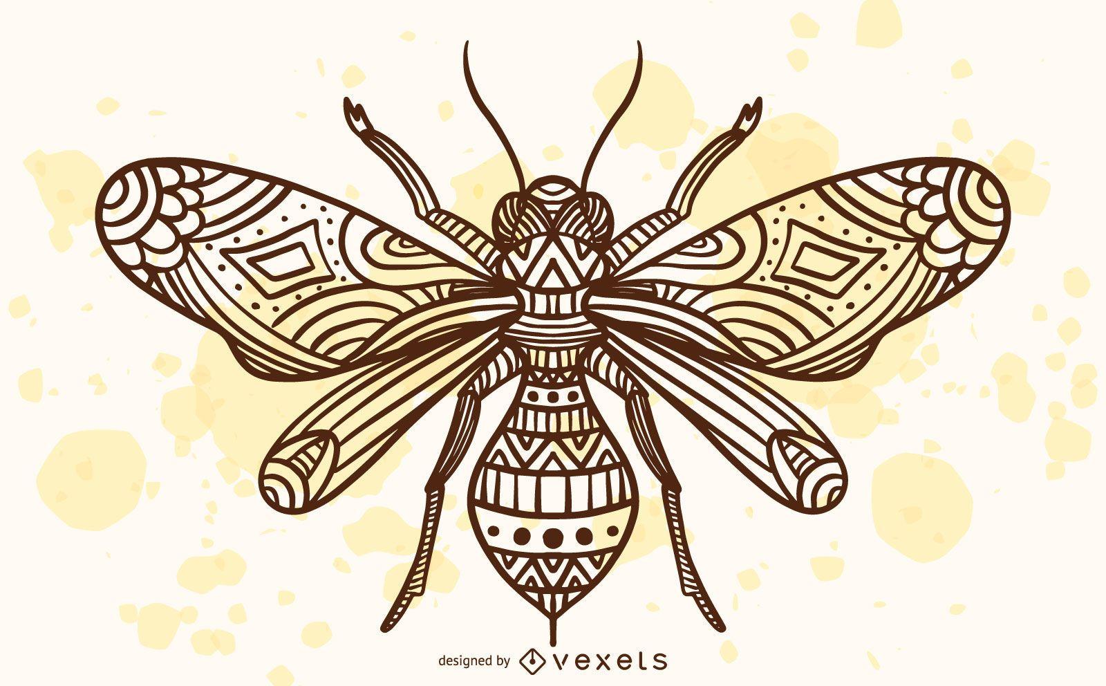 Ilustração de abelha mandala