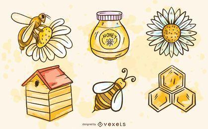 Conjunto de elementos de abelha em aquarela