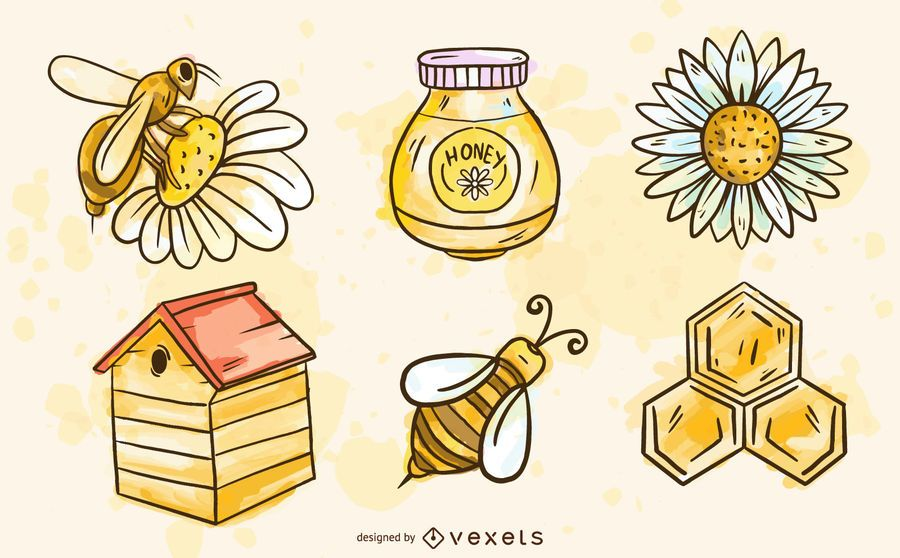 Watercolor bee elements set