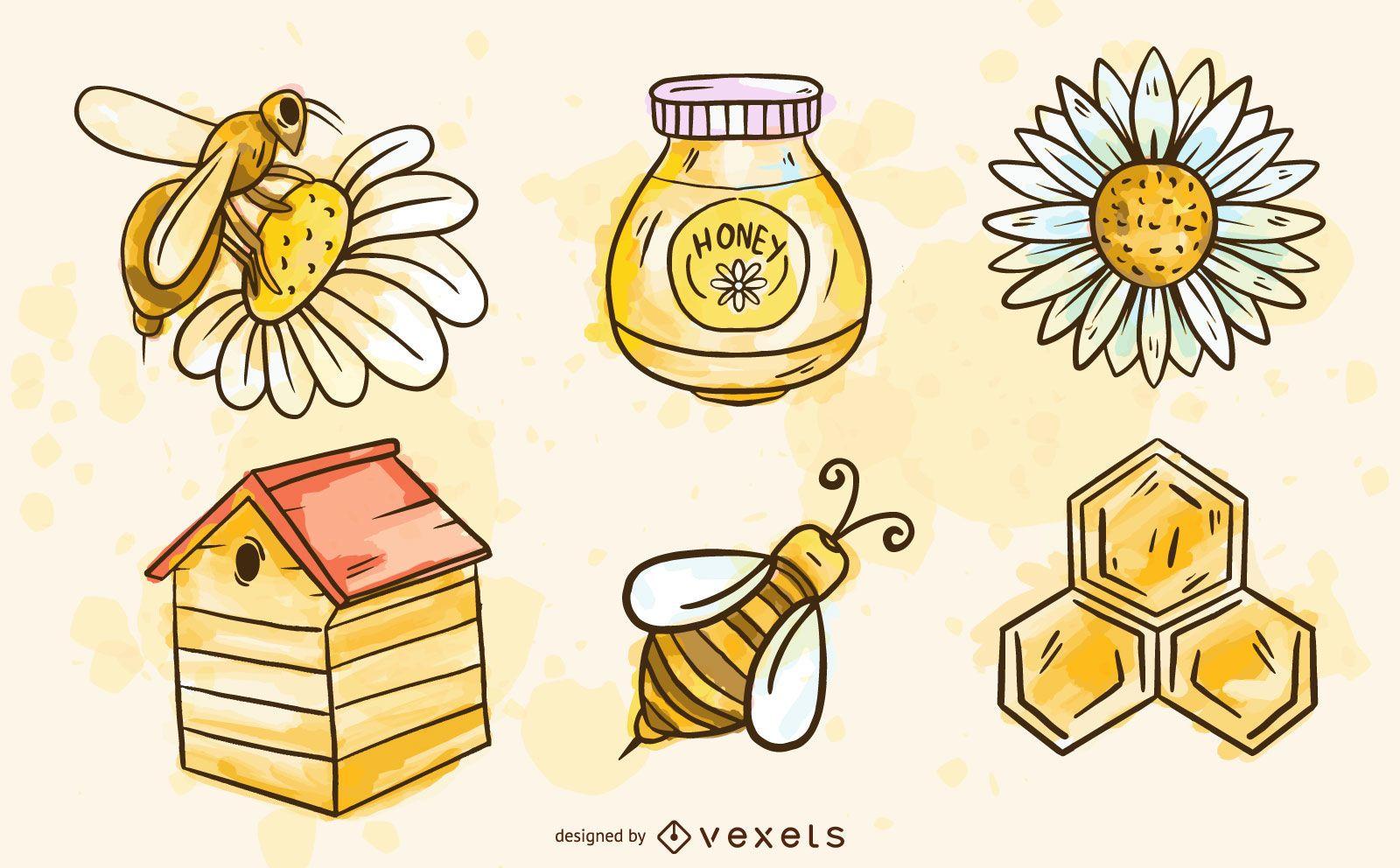 Conjunto de elementos de abeja acuarela