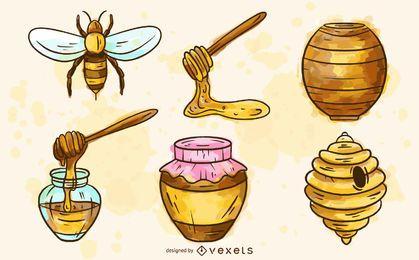 Elementos de abelha Conjunto aquarela