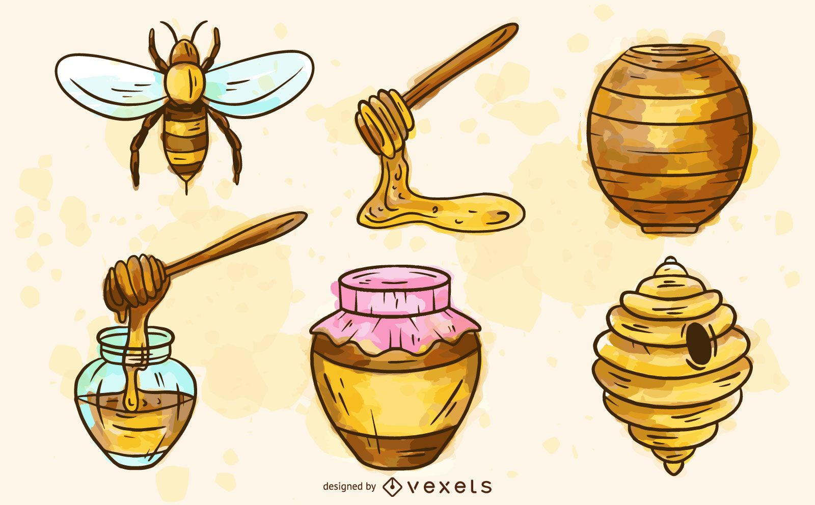 Conjunto de acuarela de elementos de abeja