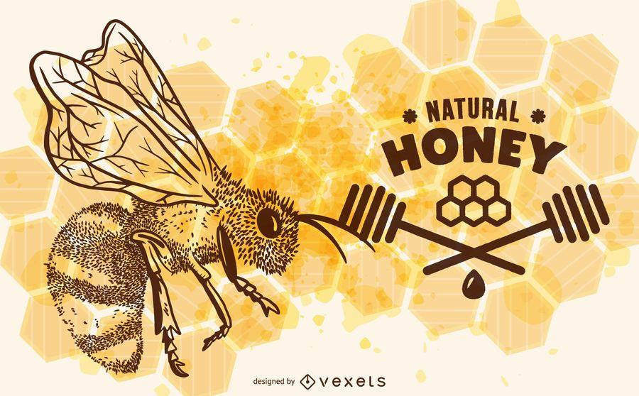 Natural honey bee illustration