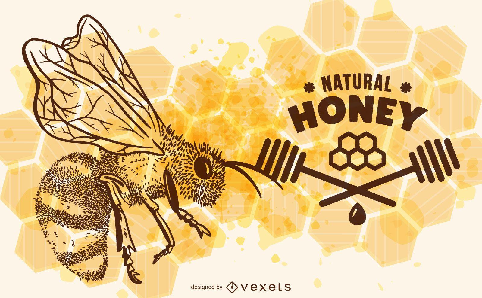 Ilustración de abeja de miel natural