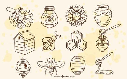 Conjunto de elementos de abeja dibujados a mano