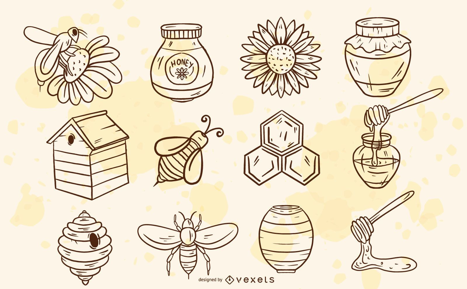 Bee elements hand drawn set
