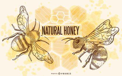 Ilustración natural de las abejas de miel
