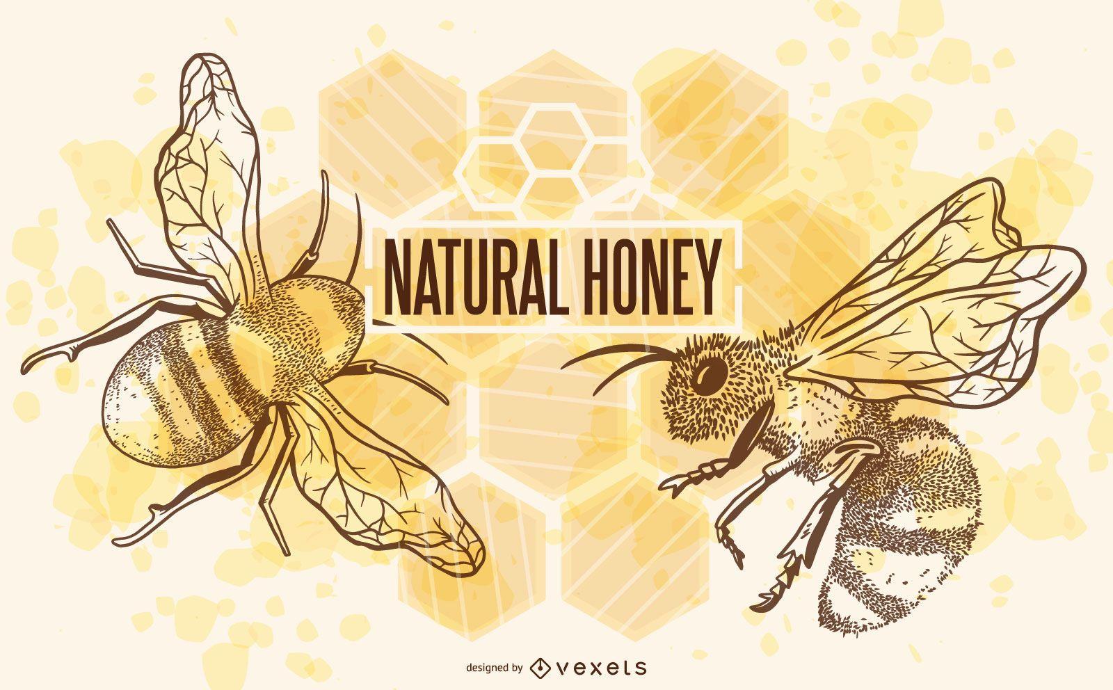 Natural honey bees illustration