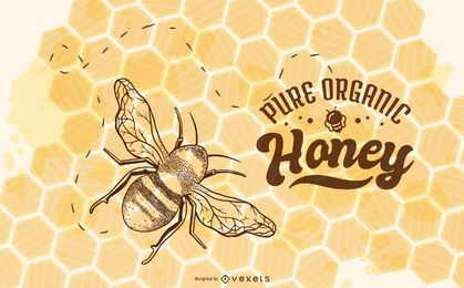 Organic honey bee illustration