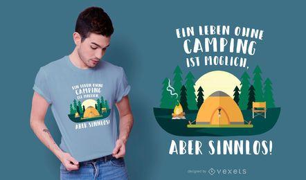 Design de camiseta para camping alemão com citações