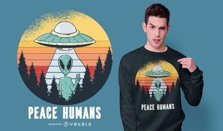 Design de camiseta da paz alienígena